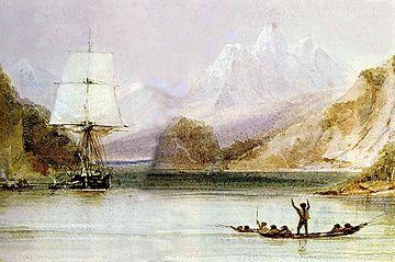 De Beagle in de wateren rondom Vuurland in 1832. Schilderij door Conrad Martens. Credits: Wikimedia Commons, Public Domain